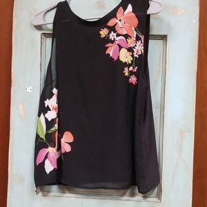 A new day sheer floral sleeveless blouse